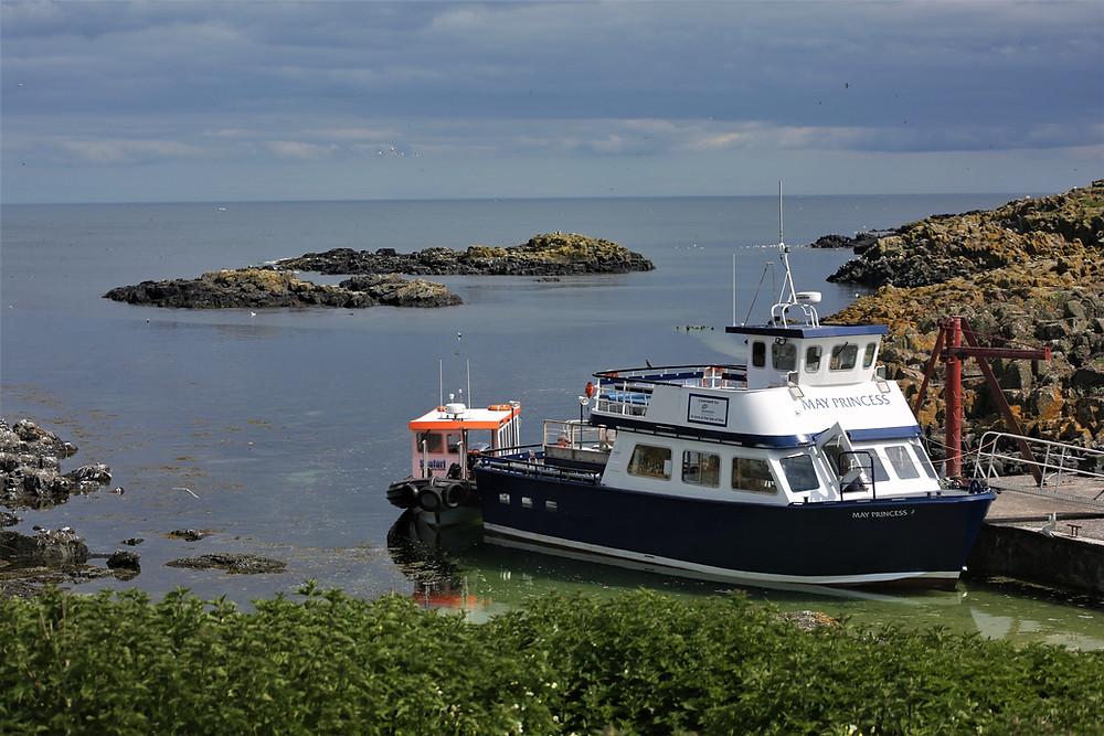 The May Princess Boat docked at the Isle of May, Scotland.