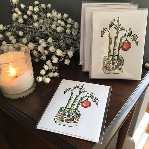 Lucky Bamboo with Christmas Ornament Holiday Card Boxed Set of 6