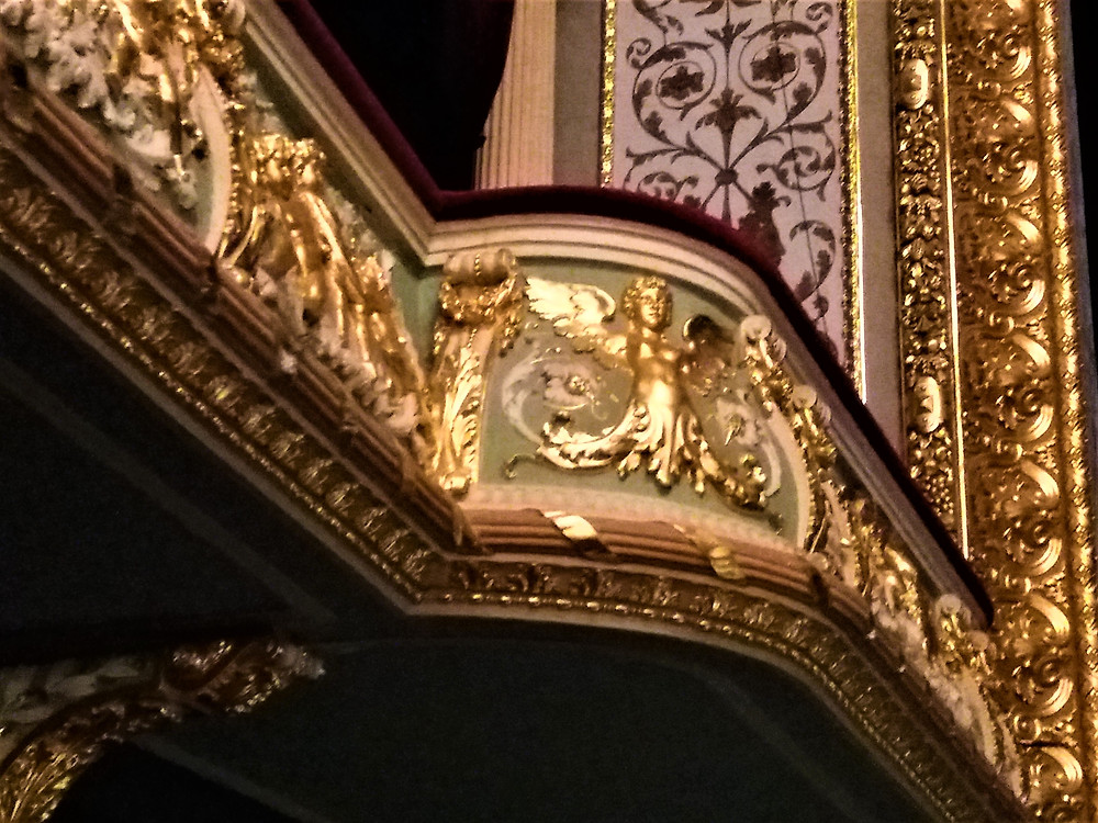 Inside The Latvian National Opera, With Gold Leaf Ornate Carvings.