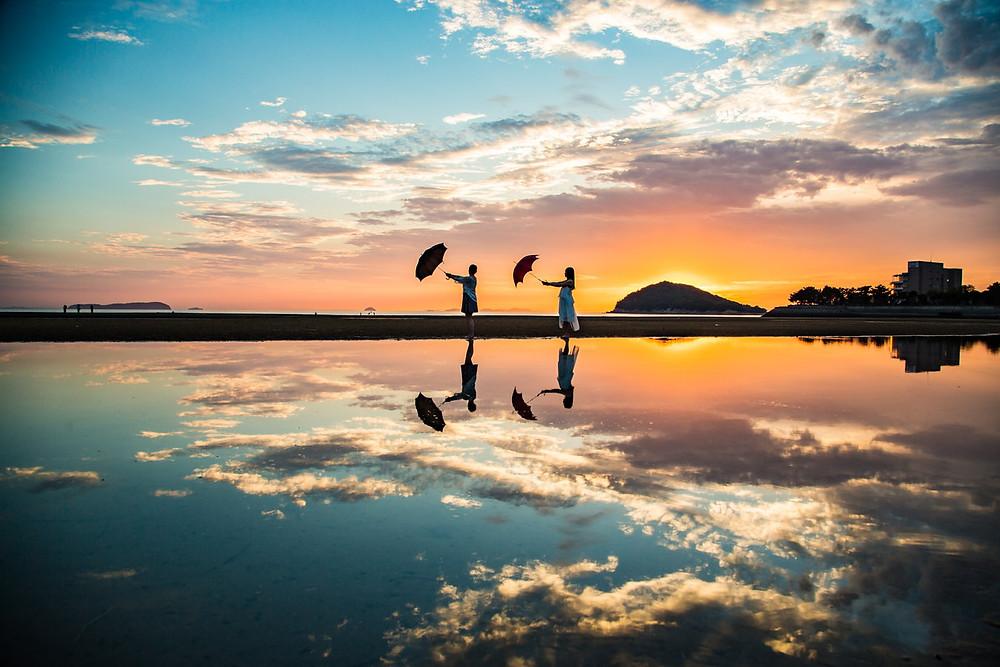 Chichibugahama Beach at Sunset