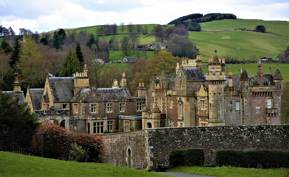 Sir Walter Scott's Home - Abbotsford House nestled in the rolling green hills of the Scottish Borders.