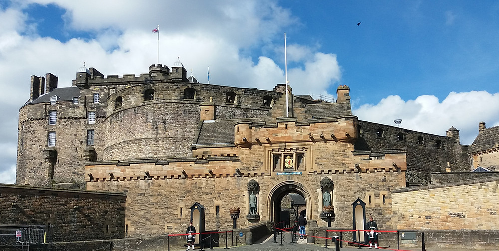Edinburgh Castle direct entrance with guards at either side of drawbridge.