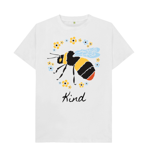 A bee circled in yellow and blue flowers with the word kind underneath.