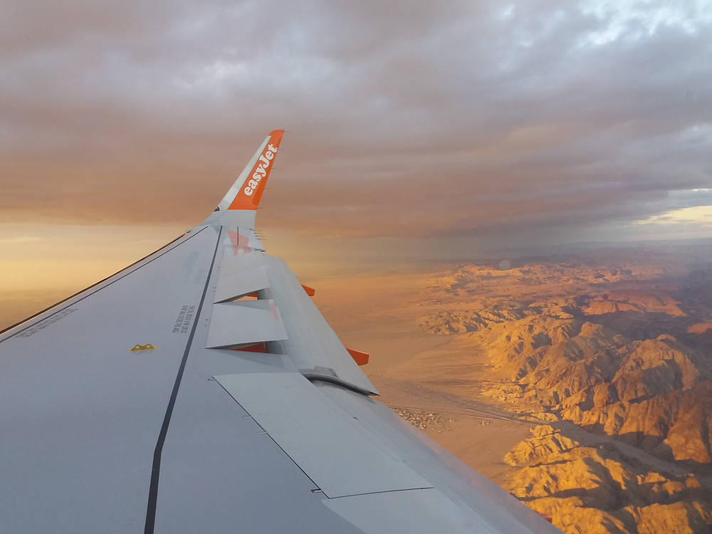 Easyjet Wing with Wadi Rum at Sunset