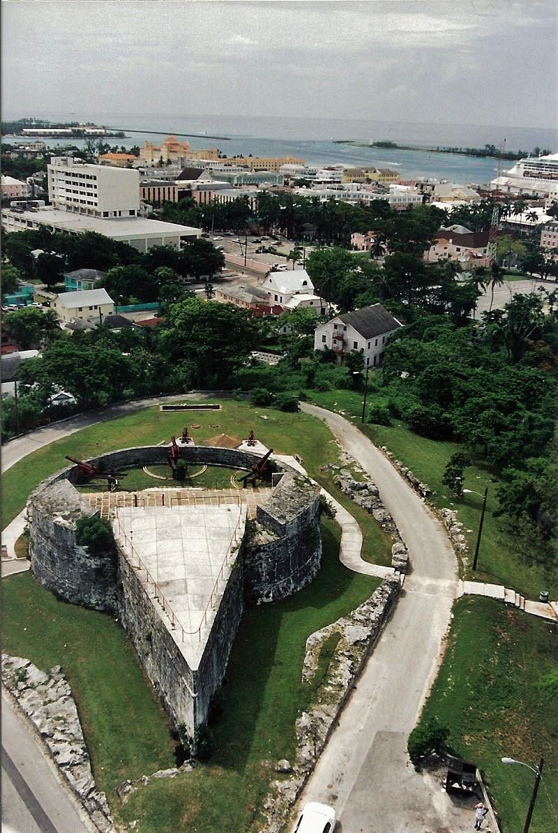 Vantage point view from the top of Fort Fincastle, across Nassau and port.