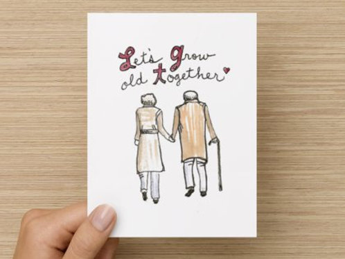 Let's Grow Old Together (Man and Woman) Folded Greeting Card
