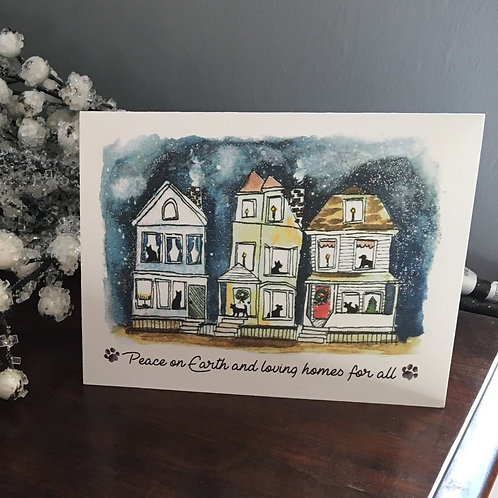 Peace on Earth and Loving Homes for All Folded Holiday Card