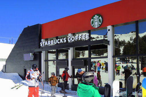 Ski-thru Starbucks - Squaw Valley at Lake Tahoe, California