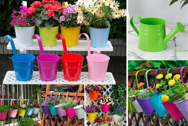 Brightly coloured garden hanging pots.