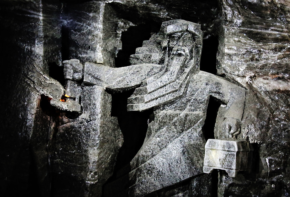 Salt Carved Miner Inside Wieliczka Salt Mine, Poland