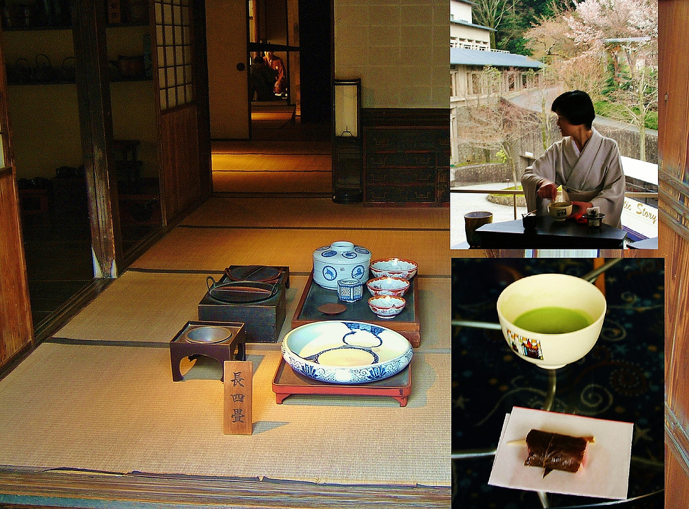 Three images, one inside a traditional tea house with tea instruments laid out and in a hotel experiencing a traditional tea ceremony with green tea and sweet.