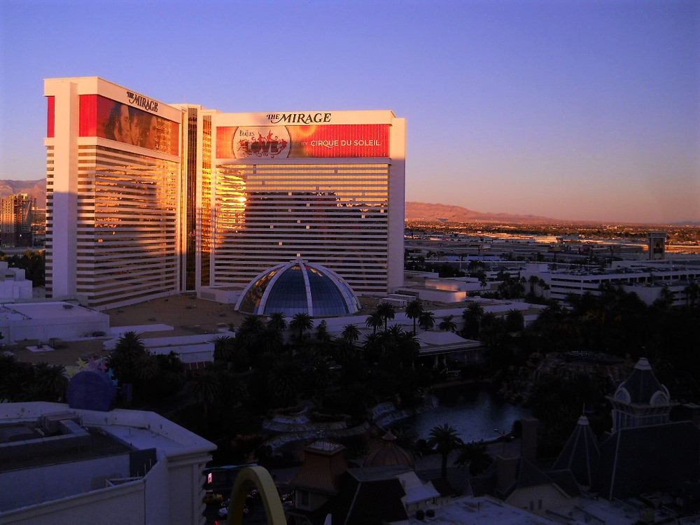 View Overlooking The Las Vegas Strip at Sunset Including The Mirage Hotel.