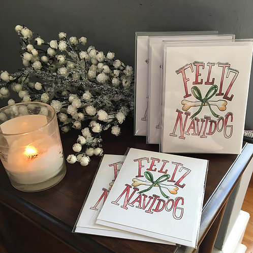 Feliz Navidog Folded Holiday Greeting Card Boxed Set of 6