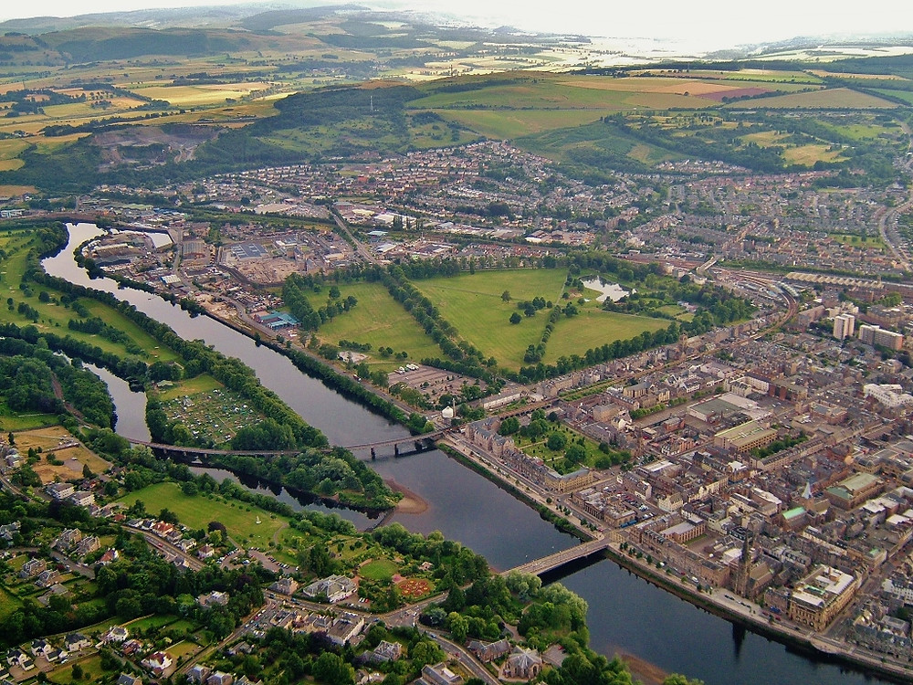 Aerial View over Perth, Scotland