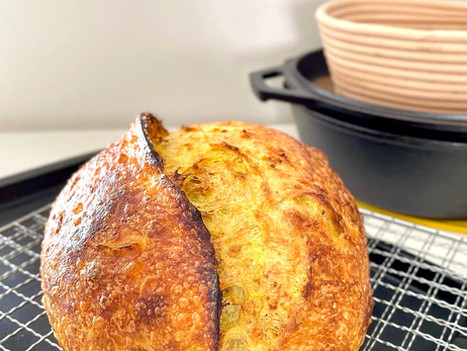 Turmeric Sourdough with Toasted Oats