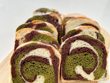 Swirly Matcha-Chocolate Sourdough Sandwich Loaf