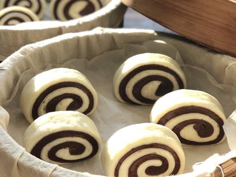 Spiral Chocolate Sourdough Mantou (Chinese Steamed Bun)