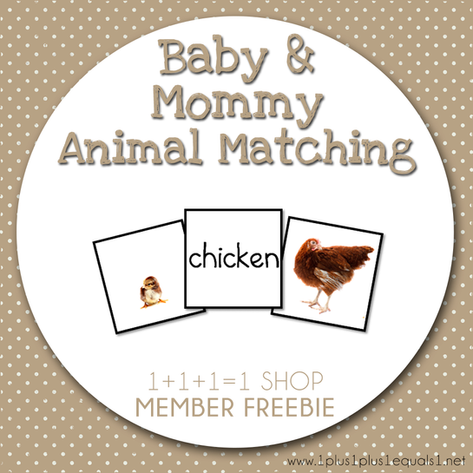 Baby and Mommy Animal Matching FREEBIE f