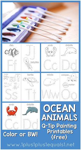 Ocean Animals Q-Tip Painting Printables.