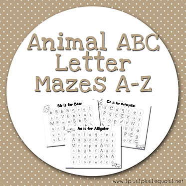 Animal ABC Letter Mazes