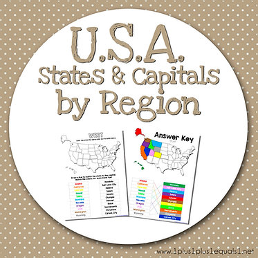 USA States & Capitals by Region