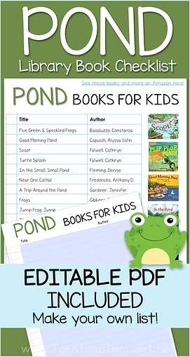 Pond Life Books Editable Library Checkli