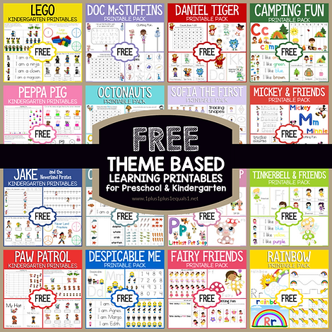 Theme Based Learning Printables for Pres
