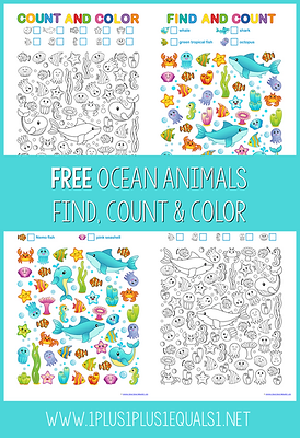 Ocean Animals Find Count and Color Print