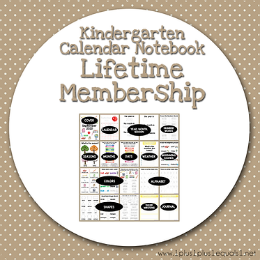 PreK & Kindergarten Calendar Notebook - LIFETIME MEMBERSHIP