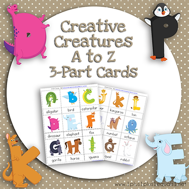 Creative Creatures A to Z 3 Part Cards