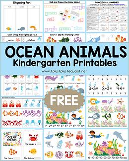 Ocean Animals Kindergarten Printables .png