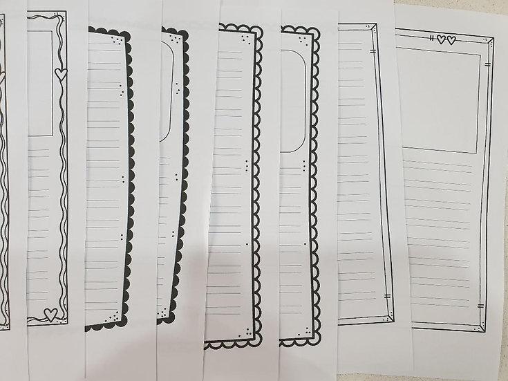 דפי כתיבה גודל A4 - קובץ דיגיטלי