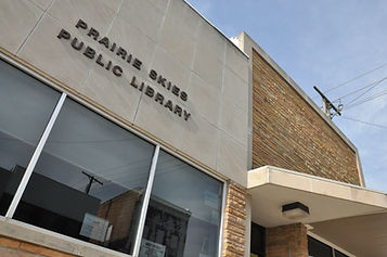 Front of Prairie Skies Public Library in Ashland