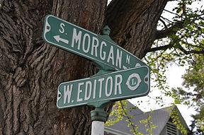 Intersection sign at Morgan and Editor