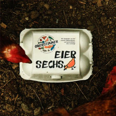 Oberstixner Etikett Eierschachtel