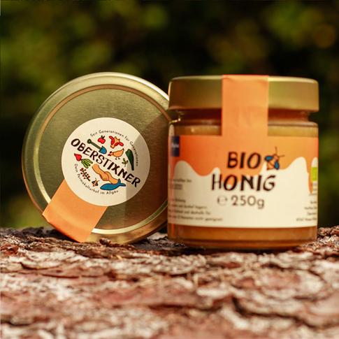 Oberstixner Etikett Honigglas zwei