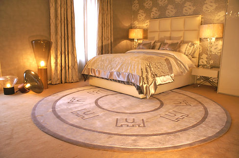 Luxury Fort Rug by Beaufort Collection. Interior Design Rug Gold and Greys