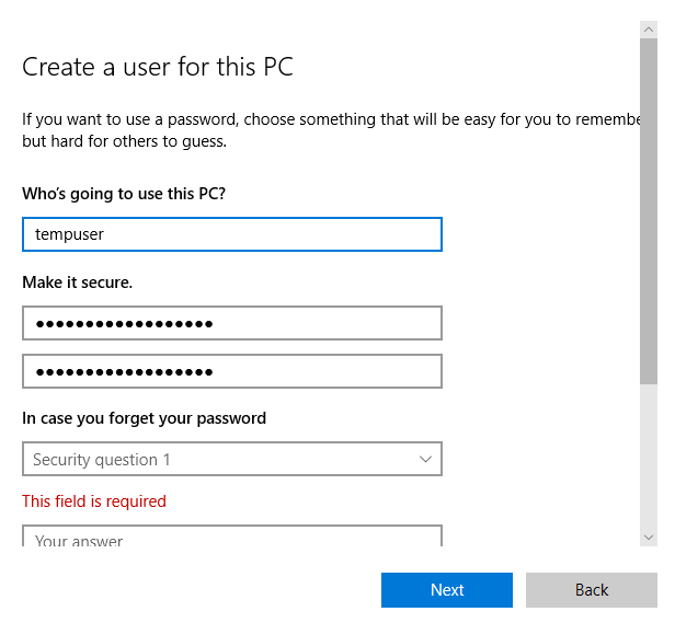 Windows Create a user for this PC