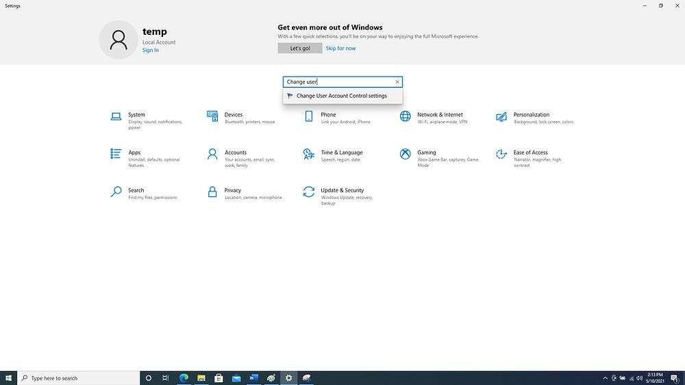 Windows Settings Search