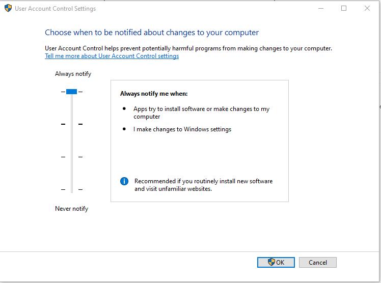 Windows User Account Control Settings