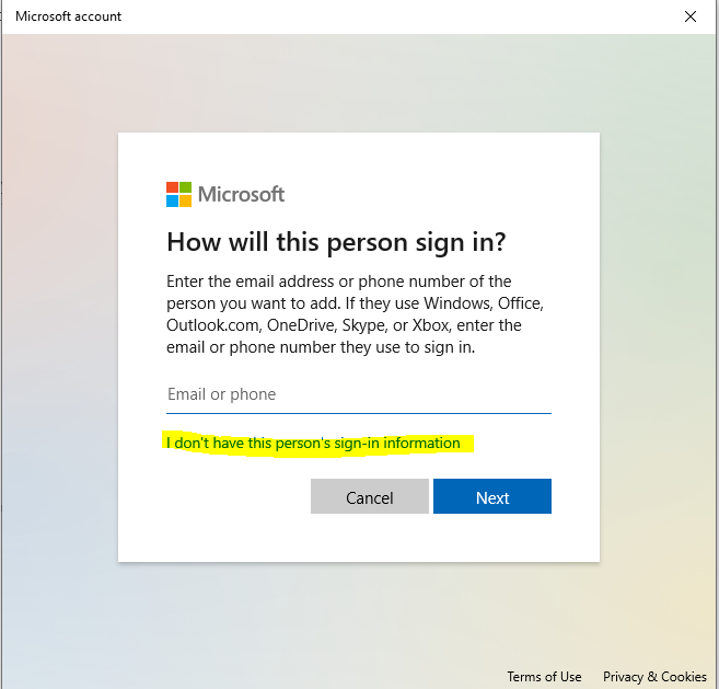 Windows Add User Person Sign-In Information