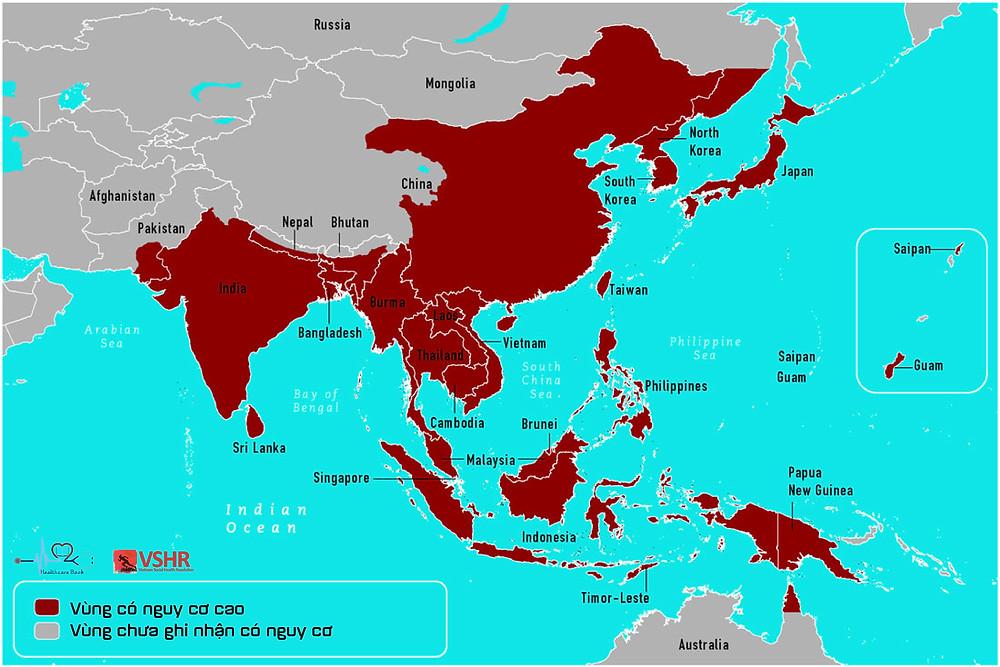 Phân bố vùng dịch tễ virus viêm não Nhật bản