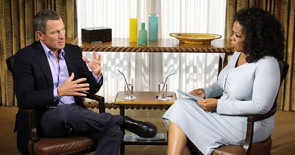Lance Armstrong và Oprah Winfrey, trong cuộc phỏng vấn năm 2013 về scandal doping trong sự nghiệp của mình.