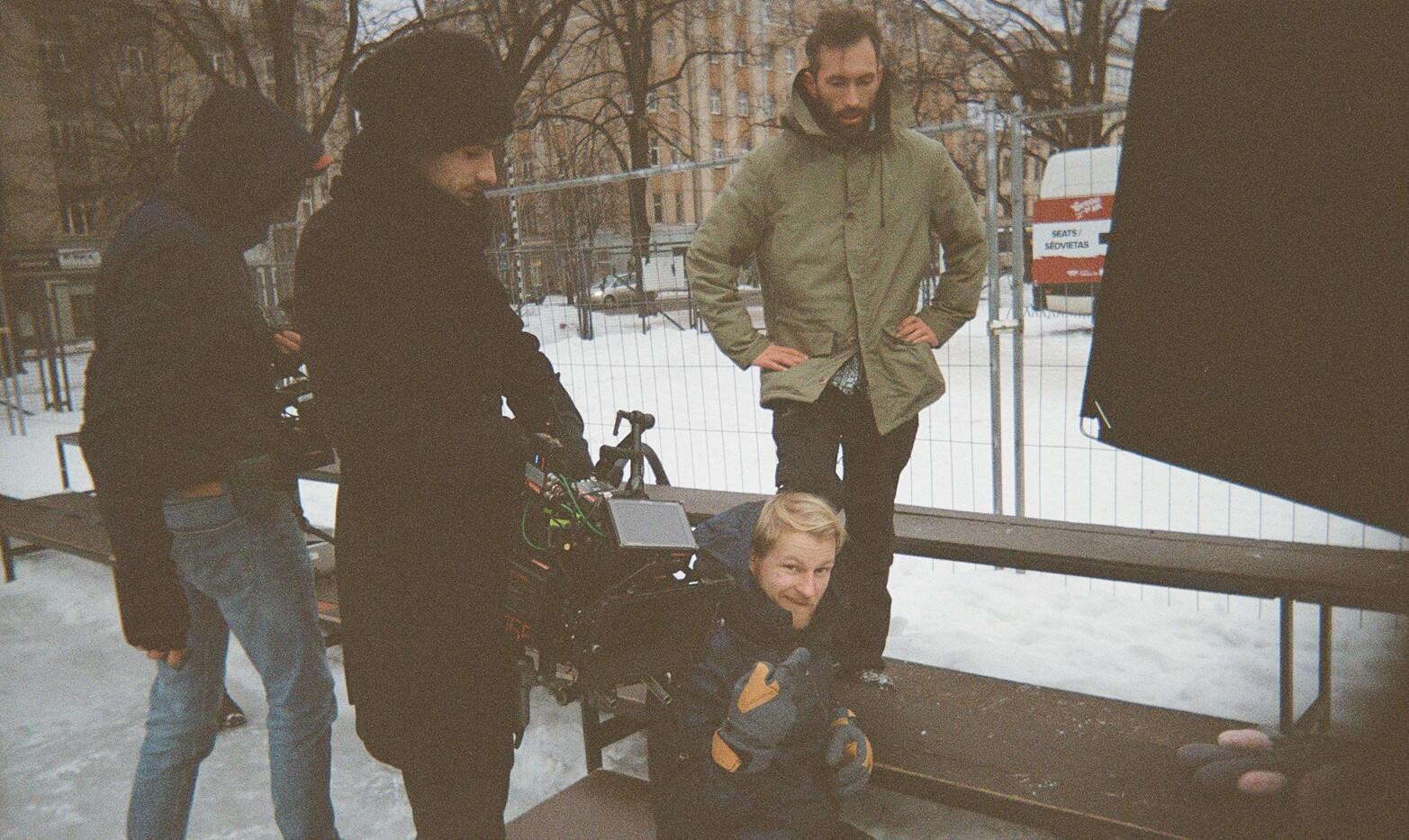 Preparing to shoot the ice skating scene.