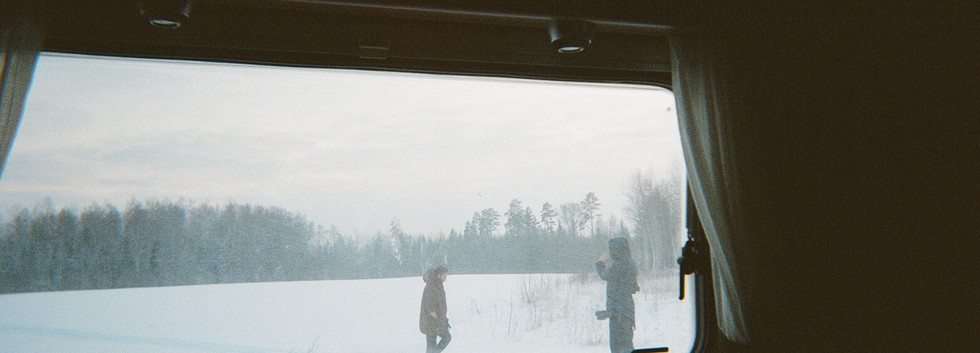 We stopped to shoot the last 30 seconds of our 35mm film in the dimming light.