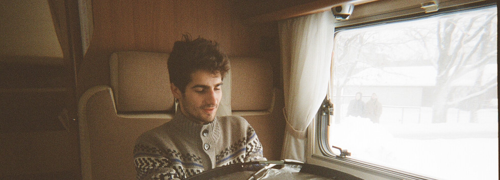 Davids loading the film at our camper van office.
