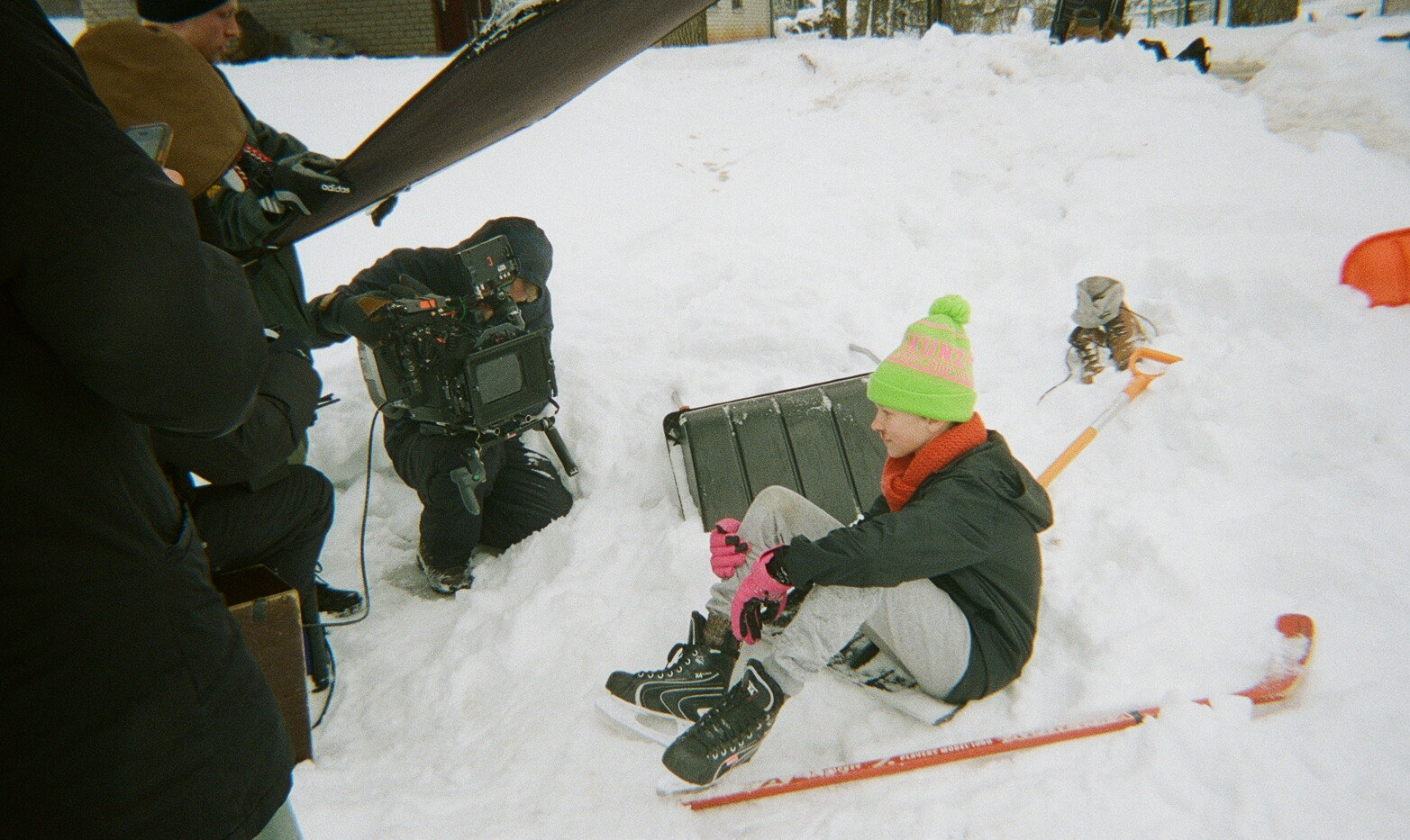 Filming the ice hockey scene.