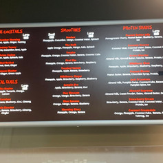 Kelly's Juice menu
