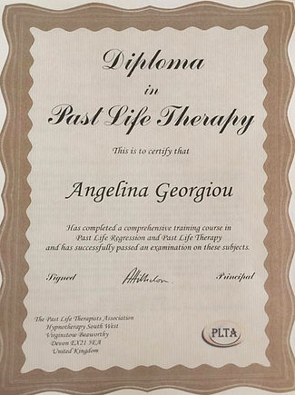 Past Life Therapy Angelina Certificate