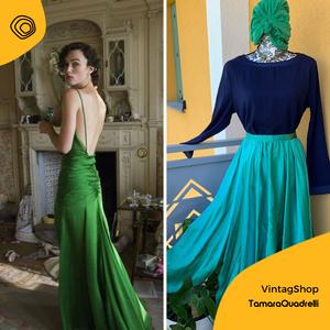 vintag vintage gonna verde smeraldo anni 80